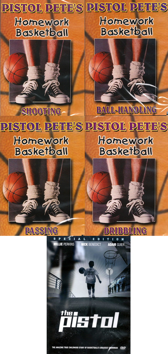 Pete Maravich Homework Basketball and The Pistol 5 DVD Package Set